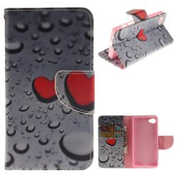 Heart Raindrop PU Leather Wallet Case for Sony Xperia Z5 Compact / Z5 Mini
