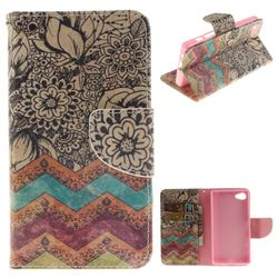 Wave Flower PU Leather Wallet Case for Sony Xperia Z5 Compact / Z5 Mini