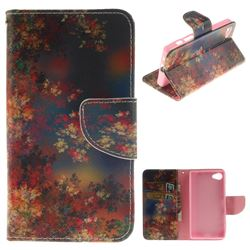 Colored Flowers PU Leather Wallet Case for Sony Xperia Z5 Compact / Z5 Mini
