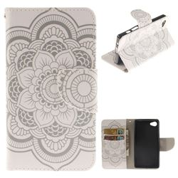 White Flowers PU Leather Wallet Case for Sony Xperia Z5 Compact / Z5 Mini