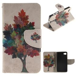 Colored Tree PU Leather Wallet Case for Sony Xperia Z5 Compact / Z5 Mini