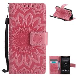 Embossing Sunflower Leather Wallet Case for Sony Xperia Z5 Compact / Z5 Mini - Pink