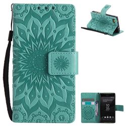Embossing Sunflower Leather Wallet Case for Sony Xperia Z5 Compact / Z5 Mini - Green