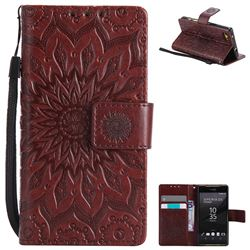Embossing Sunflower Leather Wallet Case for Sony Xperia Z5 Compact / Z5 Mini - Brown