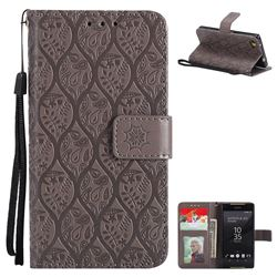 Intricate Embossing Rattan Flower Leather Wallet Case for Sony Xperia Z5 Compact / Z5 Mini - Grey