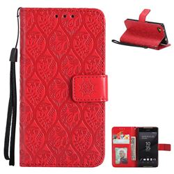 Intricate Embossing Rattan Flower Leather Wallet Case for Sony Xperia Z5 Compact / Z5 Mini - Red