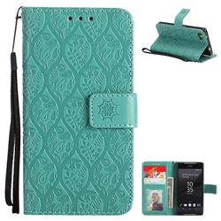 Intricate Embossing Rattan Flower Leather Wallet Case for Sony Xperia Z5 Compact / Z5 Mini - Green