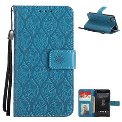 Intricate Embossing Rattan Flower Leather Wallet Case for Sony Xperia Z5 Compact / Z5 Mini - Blue