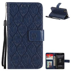Intricate Embossing Rattan Flower Leather Wallet Case for Sony Xperia Z5 Compact / Z5 Mini - Navy