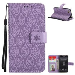 Intricate Embossing Rattan Flower Leather Wallet Case for Sony Xperia Z5 Compact / Z5 Mini - Purple