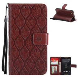 Intricate Embossing Rattan Flower Leather Wallet Case for Sony Xperia Z5 Compact / Z5 Mini - Brown