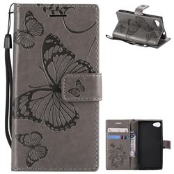 Embossing 3D Butterfly Leather Wallet Case for Sony Xperia Z5 Compact / Z5 Mini - Gray