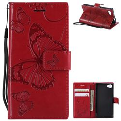Embossing 3D Butterfly Leather Wallet Case for Sony Xperia Z5 Compact / Z5 Mini - Red