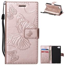 Embossing 3D Butterfly Leather Wallet Case for Sony Xperia Z5 Compact / Z5 Mini - Rose Gold