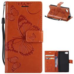 Embossing 3D Butterfly Leather Wallet Case for Sony Xperia Z5 Compact / Z5 Mini - Orange