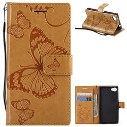 Embossing 3D Butterfly Leather Wallet Case for Sony Xperia Z5 Compact / Z5 Mini - Yellow