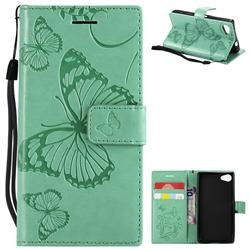 Embossing 3D Butterfly Leather Wallet Case for Sony Xperia Z5 Compact / Z5 Mini - Green