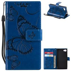 Embossing 3D Butterfly Leather Wallet Case for Sony Xperia Z5 Compact / Z5 Mini - Blue