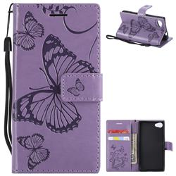 Embossing 3D Butterfly Leather Wallet Case for Sony Xperia Z5 Compact / Z5 Mini - Purple
