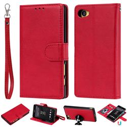 Retro Greek Detachable Magnetic PU Leather Wallet Phone Case for Sony Xperia Z5 Compact / Z5 Mini - Red