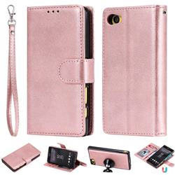 Retro Greek Detachable Magnetic PU Leather Wallet Phone Case for Sony Xperia Z5 Compact / Z5 Mini - Rose Gold