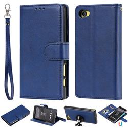 Retro Greek Detachable Magnetic PU Leather Wallet Phone Case for Sony Xperia Z5 Compact / Z5 Mini - Blue