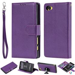 Retro Greek Detachable Magnetic PU Leather Wallet Phone Case for Sony Xperia Z5 Compact / Z5 Mini - Purple