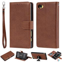 Retro Greek Detachable Magnetic PU Leather Wallet Phone Case for Sony Xperia Z5 Compact / Z5 Mini - Brown