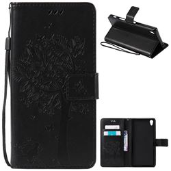 Embossing Butterfly Tree Leather Wallet Case for Sony Xperia Z5 Premium - Black