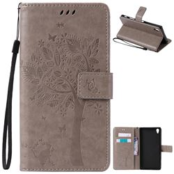 Embossing Butterfly Tree Leather Wallet Case for Sony Xperia Z5 Premium - Grey
