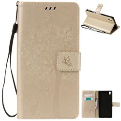 Embossing Butterfly Tree Leather Wallet Case for Sony Xperia Z5 Premium - Champagne