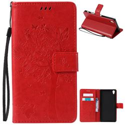 Embossing Butterfly Tree Leather Wallet Case for Sony Xperia Z5 Premium - Red