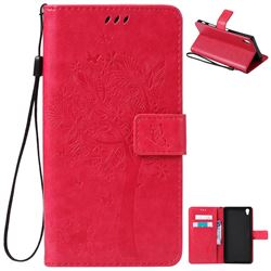 Embossing Butterfly Tree Leather Wallet Case for Sony Xperia Z5 Premium - Rose