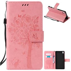 Embossing Butterfly Tree Leather Wallet Case for Sony Xperia Z5 Premium - Pink