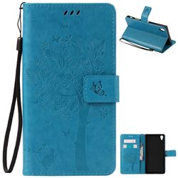 Embossing Butterfly Tree Leather Wallet Case for Sony Xperia Z5 Premium - Blue