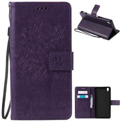 Embossing Butterfly Tree Leather Wallet Case for Sony Xperia Z5 Premium - Purple