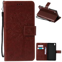 Embossing Butterfly Tree Leather Wallet Case for Sony Xperia Z5 Premium - Brown