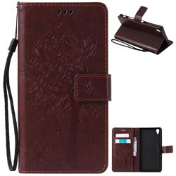 Embossing Butterfly Tree Leather Wallet Case for Sony Xperia Z5 Premium - Coffee