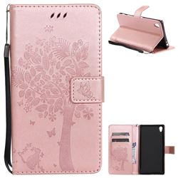 Embossing Butterfly Tree Leather Wallet Case for Sony Xperia Z5 Premium - Rose Pink
