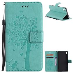 Embossing Butterfly Tree Leather Wallet Case for Sony Xperia Z5 Premium - Cyan