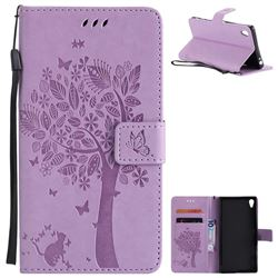 Embossing Butterfly Tree Leather Wallet Case for Sony Xperia Z5 Premium - Violet