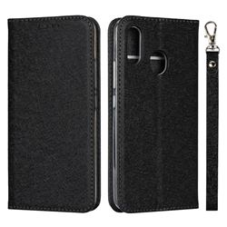 Ultra Slim Magnetic Automatic Suction Silk Lanyard Leather Flip Cover for ZTE Libero S10 TD-LTE JP 901ZT - Black