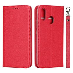 Ultra Slim Magnetic Automatic Suction Silk Lanyard Leather Flip Cover for ZTE Libero S10 TD-LTE JP 901ZT - Red