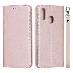 Ultra Slim Magnetic Automatic Suction Silk Lanyard Leather Flip Cover for ZTE Libero S10 TD-LTE JP 901ZT - Rose Gold