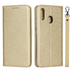 Ultra Slim Magnetic Automatic Suction Silk Lanyard Leather Flip Cover for ZTE Libero S10 TD-LTE JP 901ZT - Golden