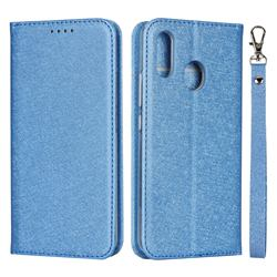 Ultra Slim Magnetic Automatic Suction Silk Lanyard Leather Flip Cover for ZTE Libero S10 TD-LTE JP 901ZT - Sky Blue