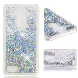 Dynamic Liquid Glitter Quicksand Sequins TPU Phone Case for ZTE Zmax Pro Z981 - Silver