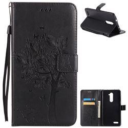 Embossing Butterfly Tree Leather Wallet Case for ZTE Zmax Pro Z981 - Black