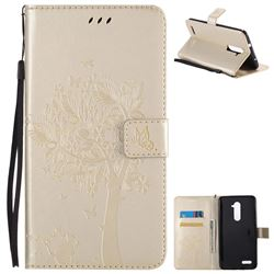 Embossing Butterfly Tree Leather Wallet Case for ZTE Zmax Pro Z981 - Champagne