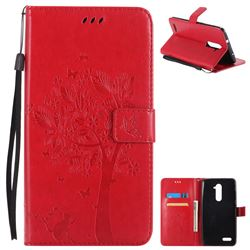 Embossing Butterfly Tree Leather Wallet Case for ZTE Zmax Pro Z981 - Red